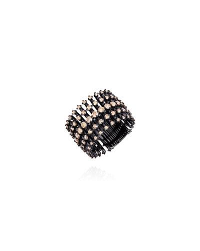 Brilliant Black Rhodium Floating Diamond Ring  Size 6.75