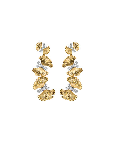 Michael Aram Butterfly Ginkgo Triple Drop Earrings with Diamonds