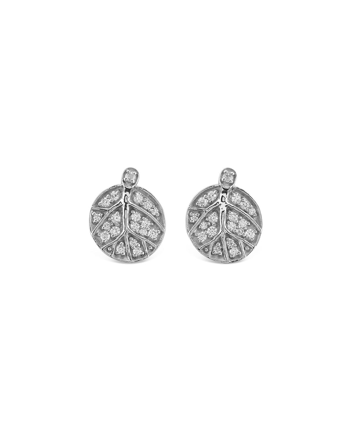 Michael Aram Botanical Leaf Diamond Stud Earrings, 13mm