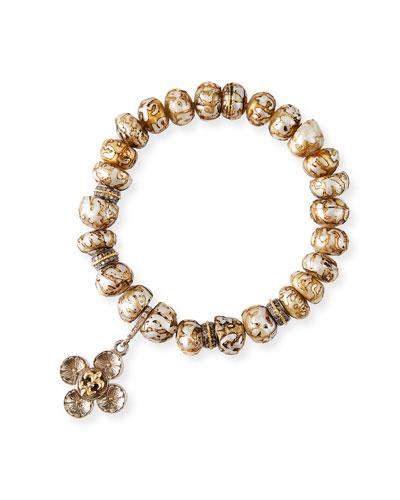 Flower Fleur-de-Lis Pearl Bracelet