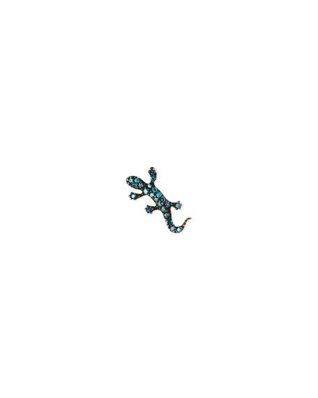 Stevie Wren Misfit 14k Rose Gold Blue Diamond Salamander Single Stud Earring