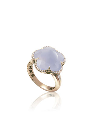 Pasquale Bruni Bon Ton 18k Rose Gold Milky Quartz and Blue Chalcedony Ring with Diamonds, Size 6.25