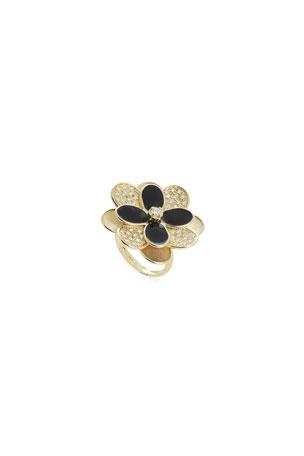 Marco Bicego Petali Large Enamel and Diamond Pave Ring, Size 7