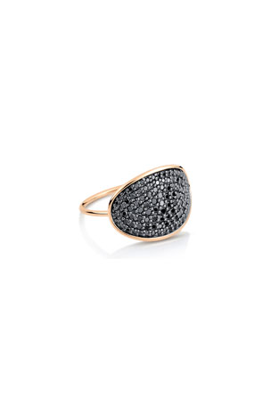 GINETTE NY 18k Gold Black Diamond Large Sequin Ring, Size 6