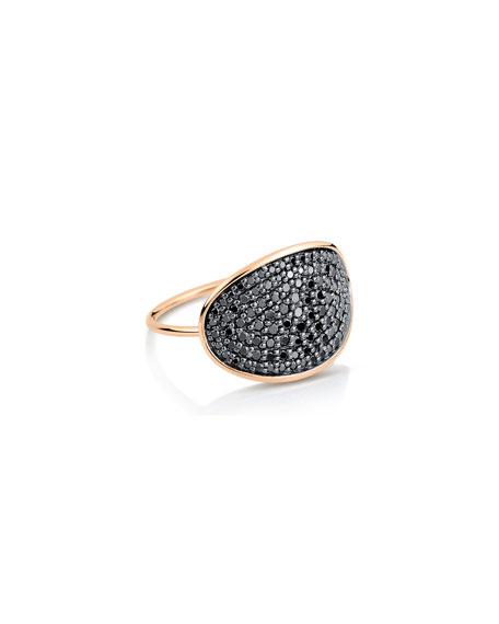 GINETTE NY 18k Gold Black Diamond Large Sequin Ring, Size 7