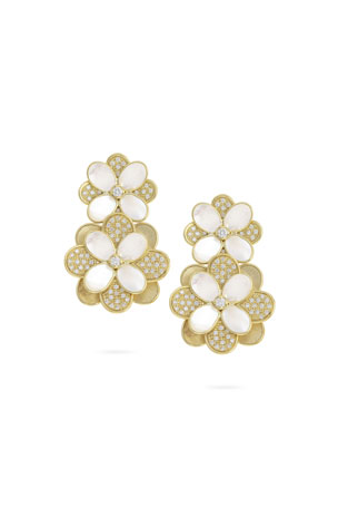 Marco Bicego Petali Mother-of-Pearl and Diamond Pave Statement Earrings