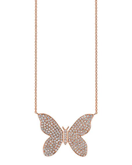 Sydney Evan 14k Rose Gold Diamond Butterfly Necklace