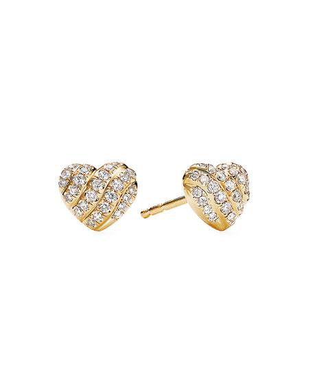 David Yurman 18K Yellow Gold Diamond Heart Stud Earrings