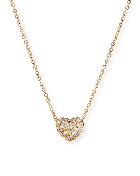David Yurman 18K Yellow Gold Diamond Heart Pendant Necklace
