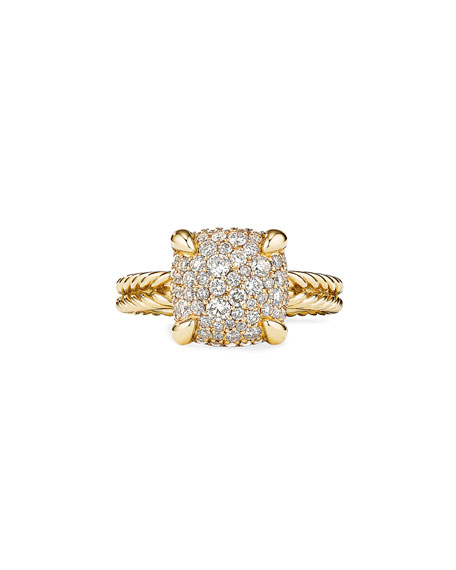 Image 2 of 3: David Yurman Chatelaine Ring in 18K Yellow Gold with Full Pave Diamonds, 11mm, Size 6
