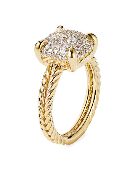 Image 3 of 3: David Yurman Chatelaine Ring in 18K Yellow Gold with Full Pave Diamonds, 11mm, Size 6
