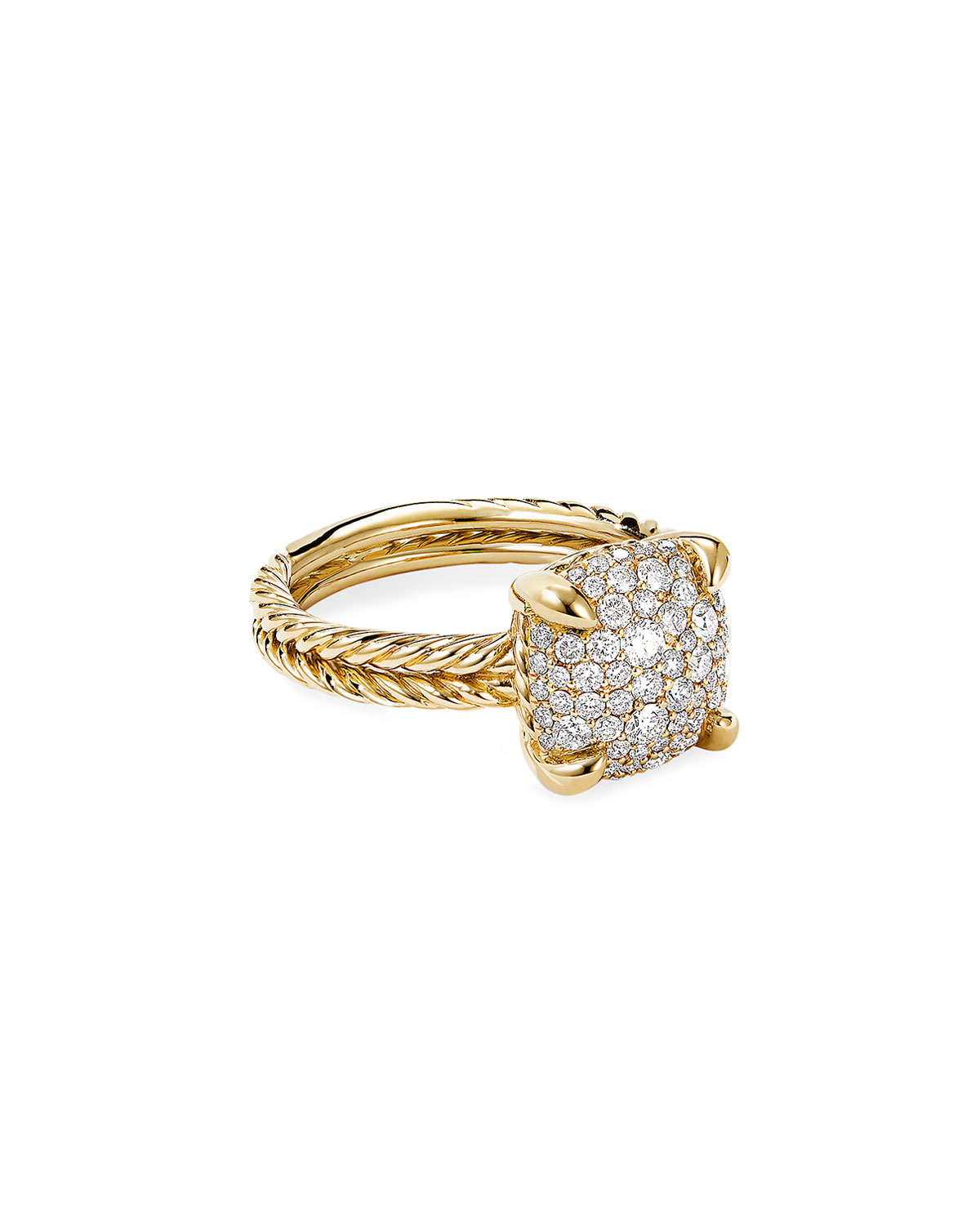 David Yurman Chatelaine Ring in 18K Yellow Gold with Full Pave Diamonds, 11mm, Size 6