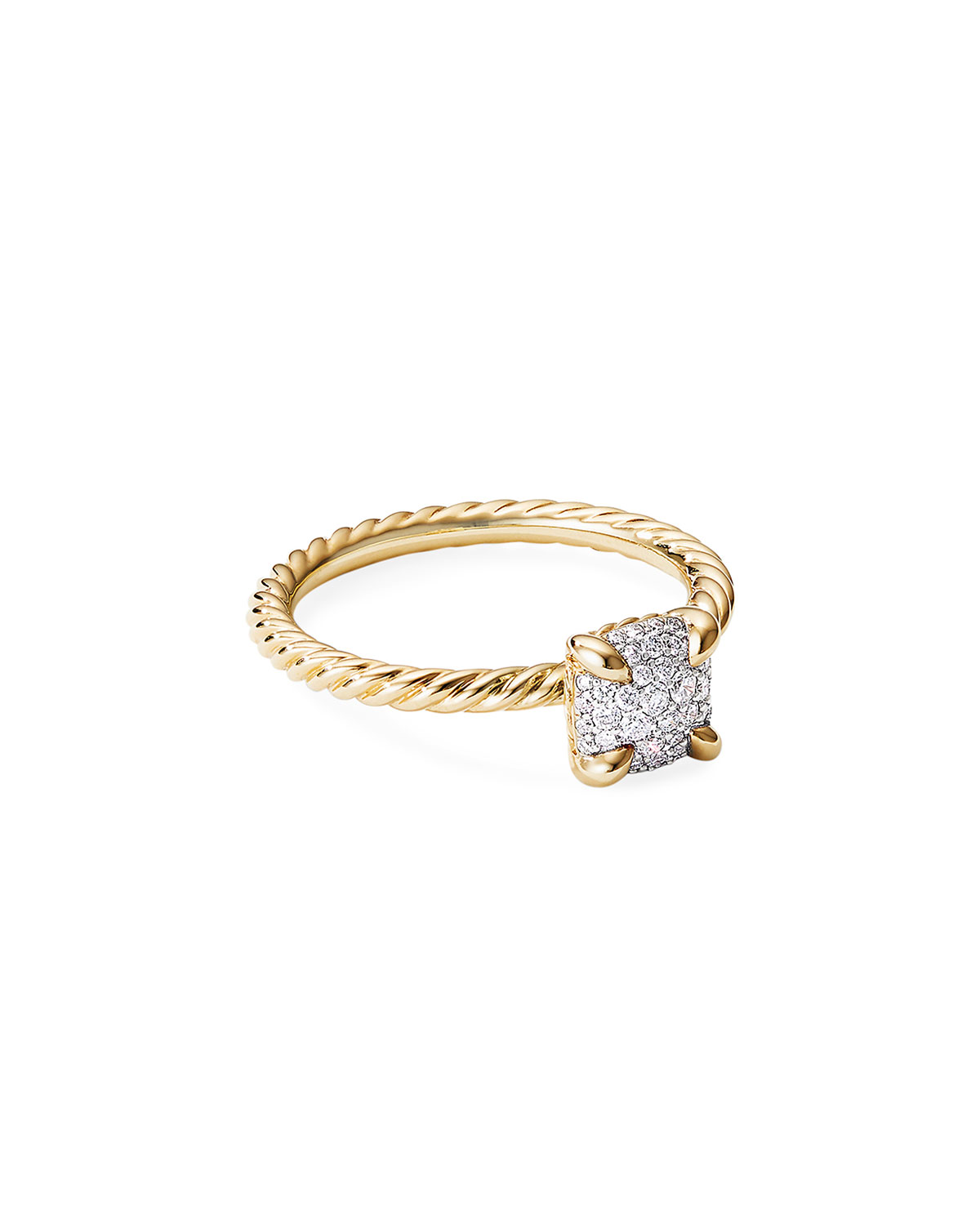 David Yurman Chatelaine Ring in 18K Yellow Gold with Full Pave Diamonds, Size 6