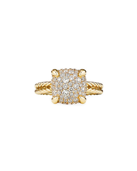 Image 2 of 3: David Yurman Chatelaine Ring in 18K Yellow Gold with Full Pave Diamonds, 11mm, Size 9