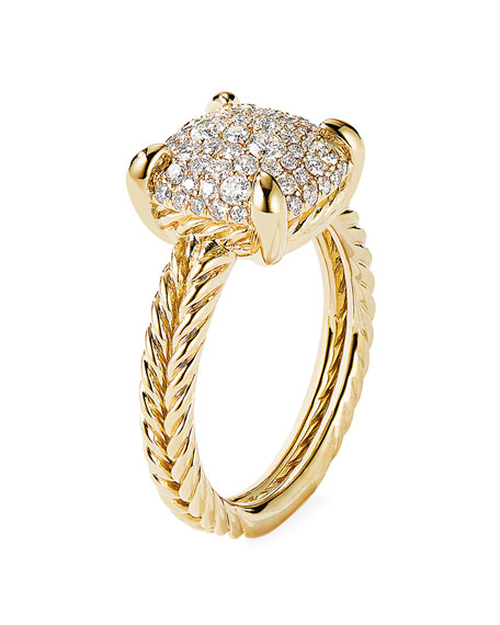 Image 3 of 3: David Yurman Chatelaine Ring in 18K Yellow Gold with Full Pave Diamonds, 11mm, Size 9