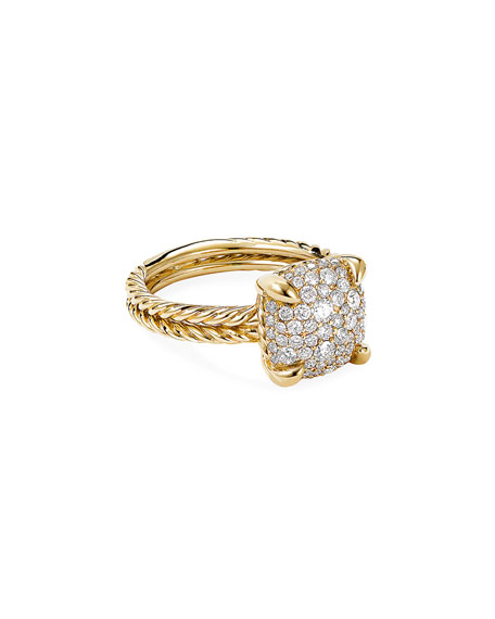 Image 1 of 3: David Yurman Chatelaine Ring in 18K Yellow Gold with Full Pave Diamonds, 11mm, Size 9