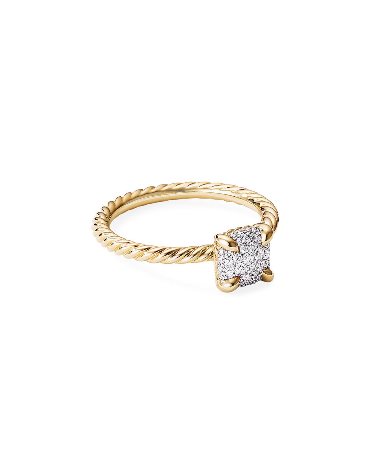 David Yurman Chatelaine Ring in 18K Yellow Gold with Full Pave Diamonds, Size 5