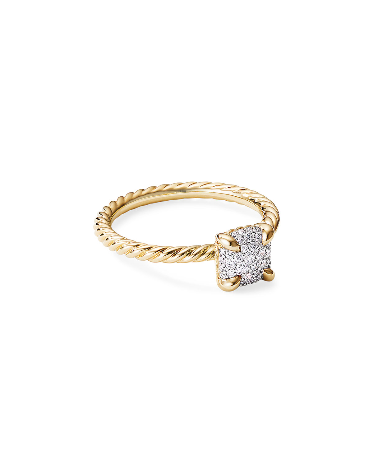 David Yurman Chatelaine Ring in 18K Yellow Gold with Full Pave Diamonds, Size 8