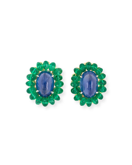 NM Estate Estate Sapphire and Emerald Cluster Clip Earrings