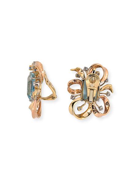 NM Estate Estate Retro Ribbon Aqua Clip Earrings