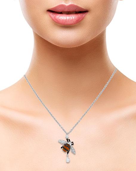 Staurino 18K White Gold Citrine Bee Pendant Necklace