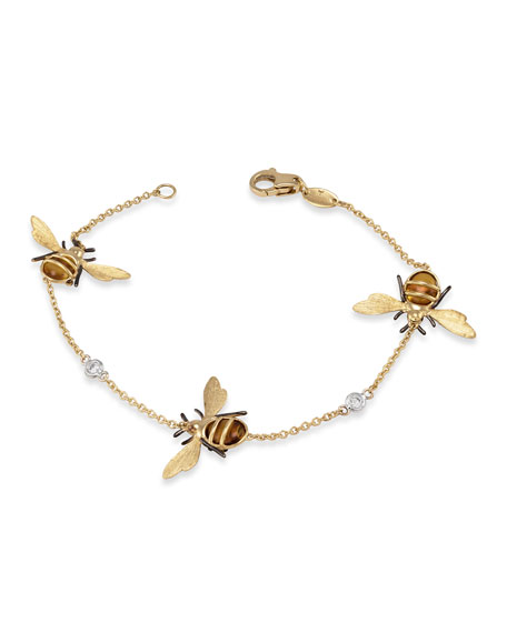 Image 1 of 2: Staurino 18K Yellow Gold Citrine Bee Chain Bracelet