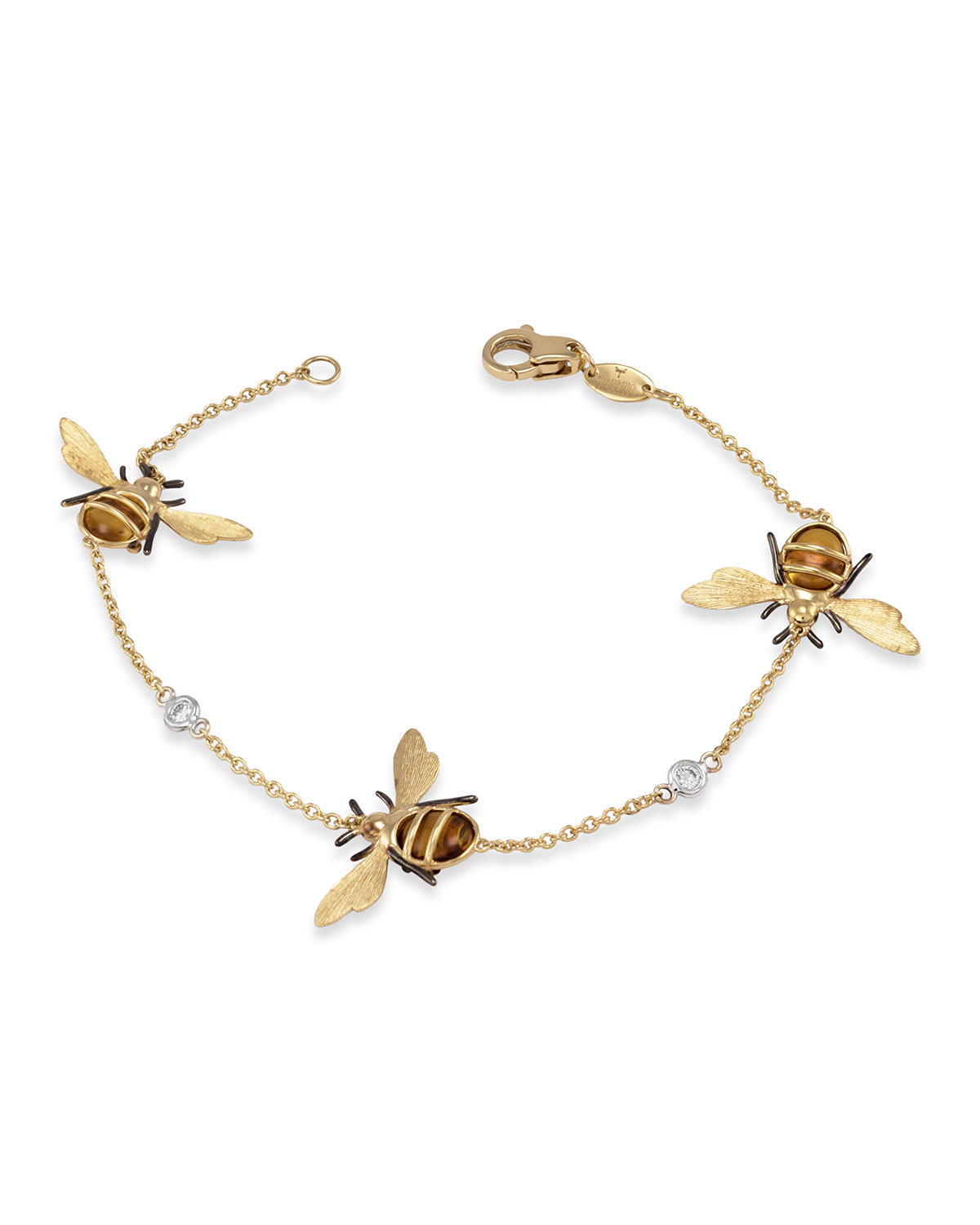 Staurino 18K Yellow Gold Citrine Bee Chain Bracelet