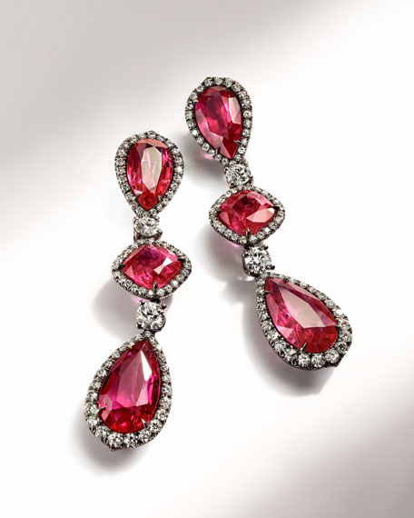 Image 2 of 2: Bayco 18k Black Gold Mozambique Ruby and Diamond Earrings