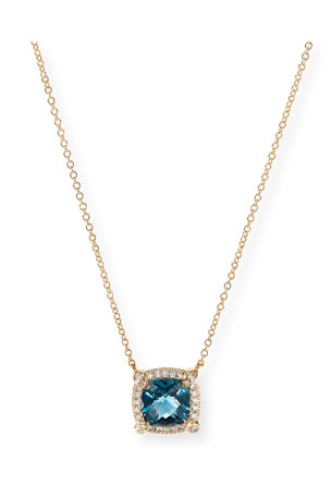 David Yurman Petite Chatelaine Pave Bezel Pendant Necklace in 18K Yellow Gold with Hampton Blue Topaz