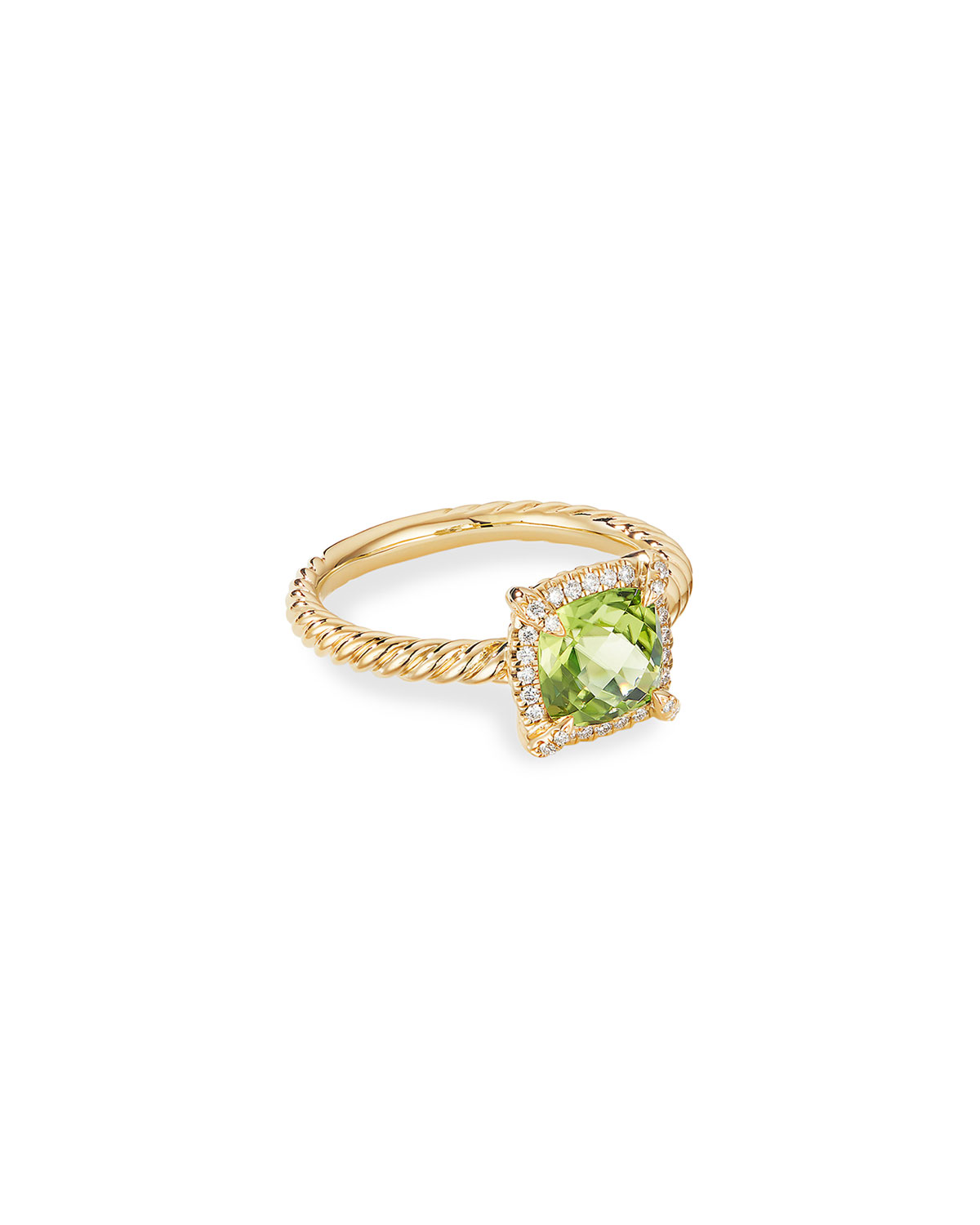 David Yurman Petite Chatelaine Pave Bezel Ring in 18K Gold with Peridot, Size 6
