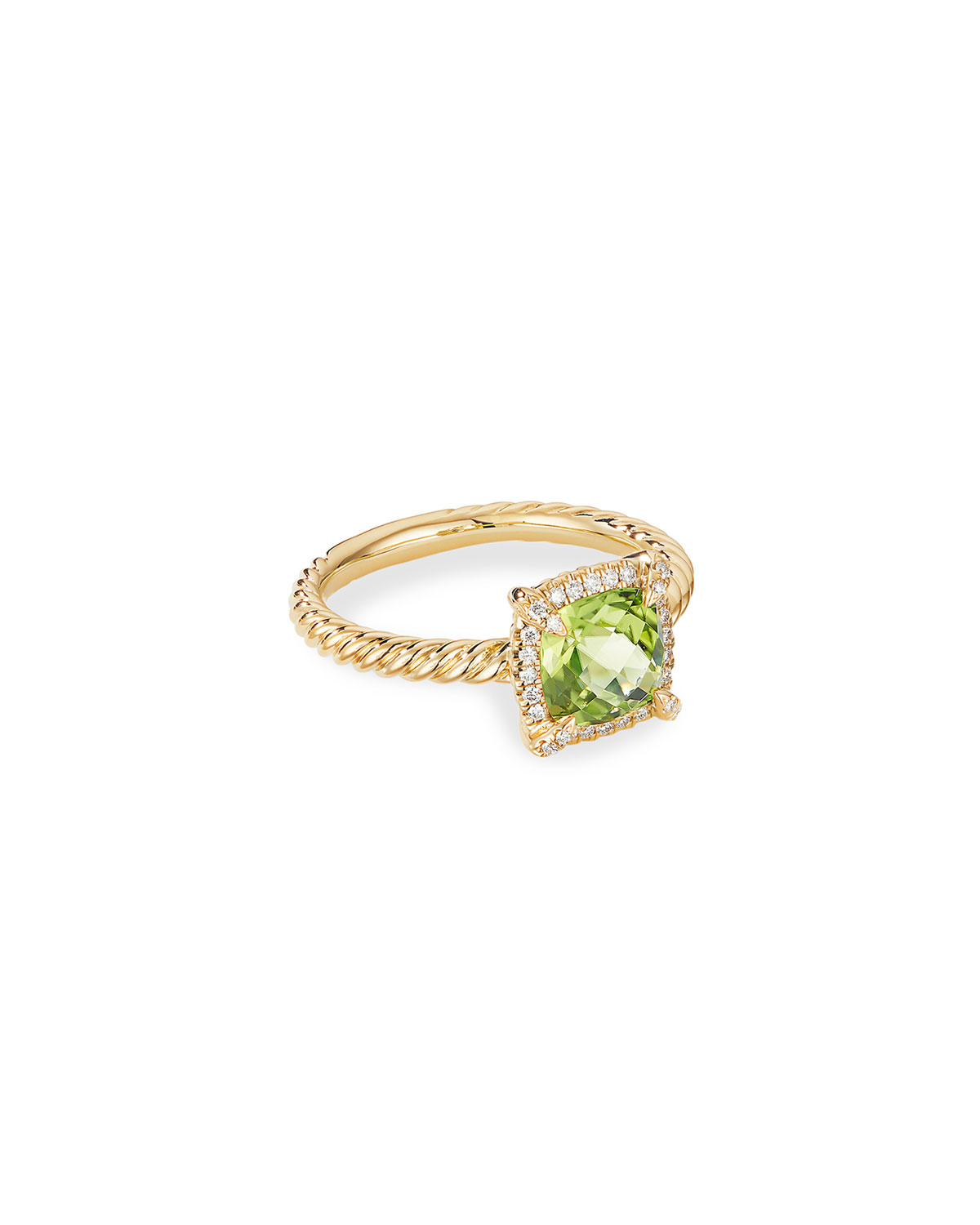 David Yurman Petite Chatelaine Pave Bezel Ring in 18K Gold with Peridot, Size 7