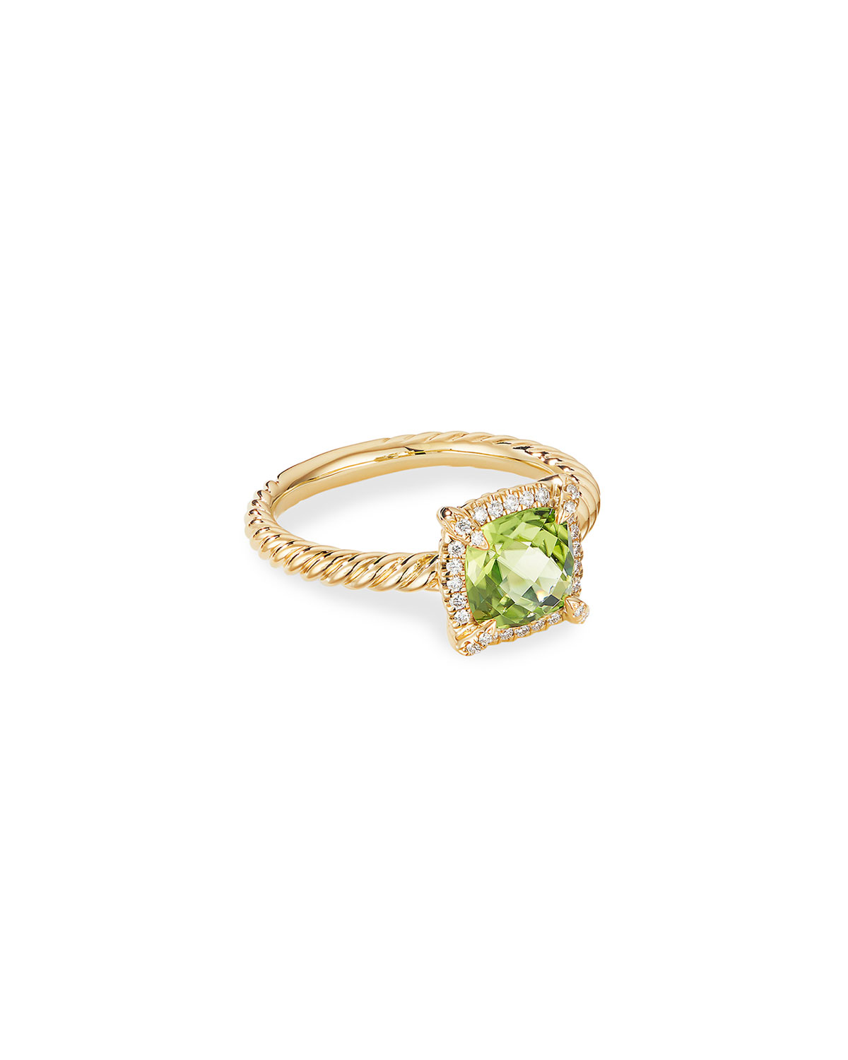 David Yurman Petite Chatelaine Pave Bezel Ring in 18K Gold with Peridot, Size 9