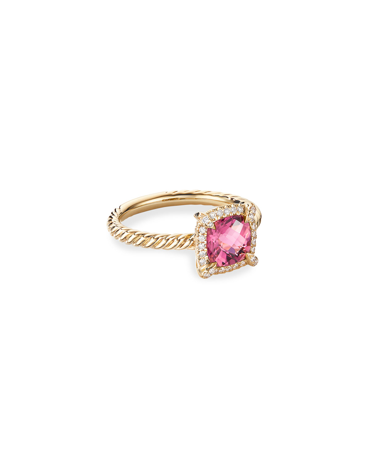 David Yurman Petite Chatelaine Pave Bezel Ring in 18K Gold with Tourmaline, Size 5