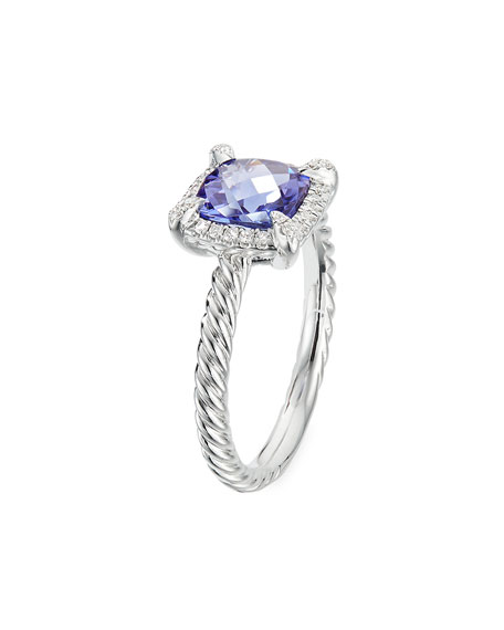 Image 3 of 3: David Yurman Petite Chatelaine Pave Bezel Ring in 18K White Gold with Tanzanite, Size 7
