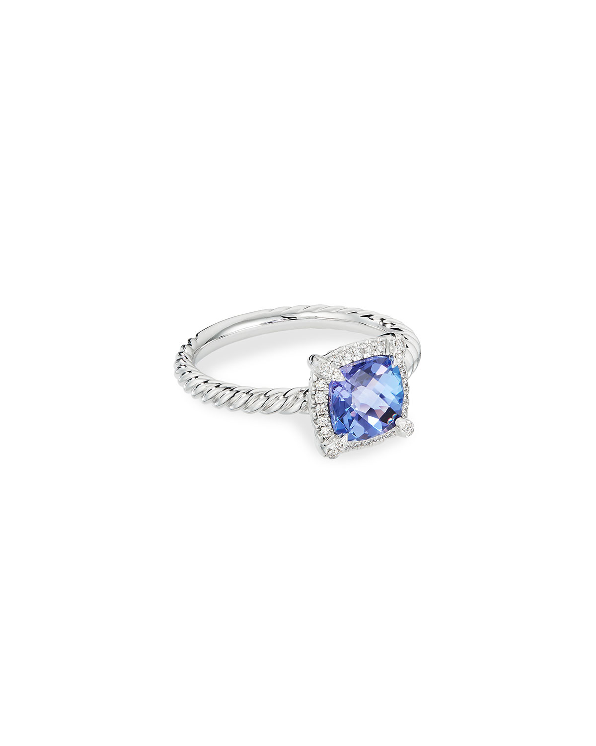 David Yurman Petite Chatelaine Pave Bezel Ring in 18K White Gold with Tanzanite, Size 7