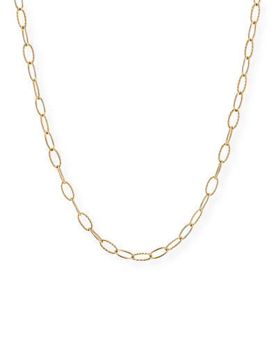 Stax Elongated Oval Link Chain Necklace in 18k Gold  32