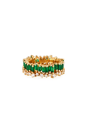 Suzanne Kalan 18k Yellow Gold Emerald Eternity Ring