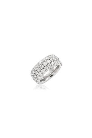 Picchiotti Xpandable 18k White Gold Round Diamond 3-Row Ring