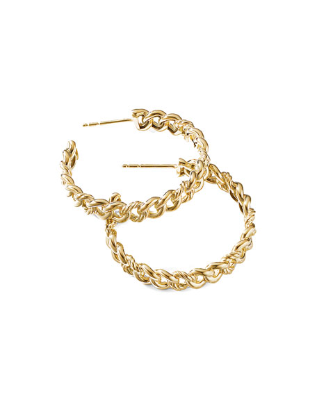 Image 2 of 2: David Yurman Belmont ID Hoop Earrings in 18k Gold