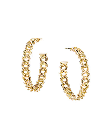 Image 1 of 2: David Yurman Belmont ID Hoop Earrings in 18k Gold