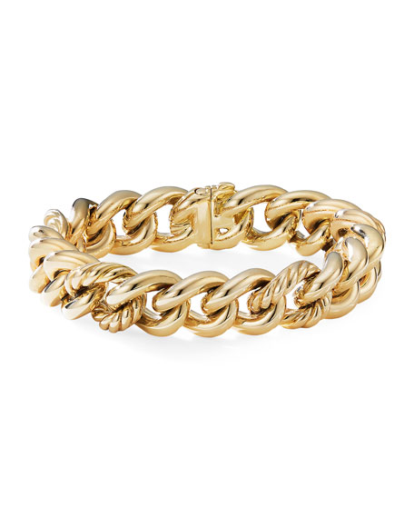 Image 1 of 2: 18k Yellow Gold Curb Chain Bracelet, Size L