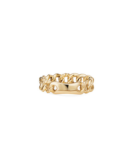 Image 2 of 3: David Yurman Belmont Gold Narrow Curb Link Ring, Size 6
