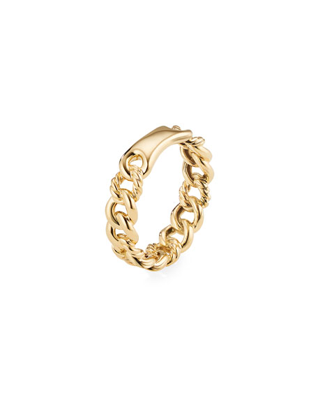 Image 3 of 3: David Yurman Belmont Gold Narrow Curb Link Ring, Size 6