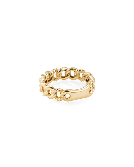 Image 1 of 3: David Yurman Belmont Gold Narrow Curb Link Ring, Size 6