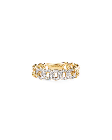 Image 2 of 3: David Yurman Belmont Gold Narrow Curb Link Ring with Diamonds, Size 8
