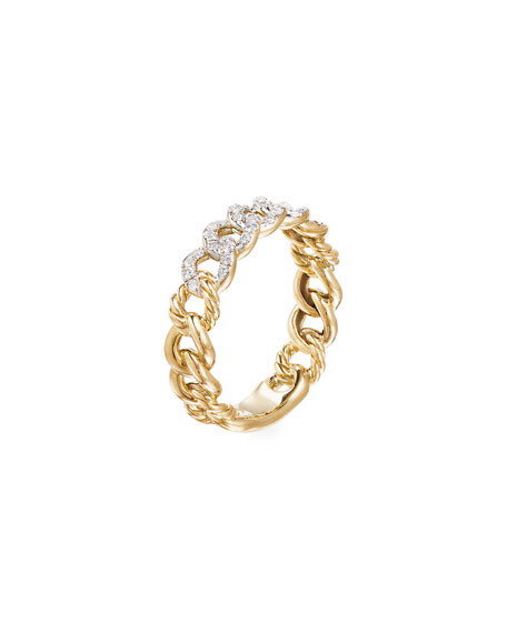 Image 3 of 3: David Yurman Belmont Gold Narrow Curb Link Ring with Diamonds, Size 8