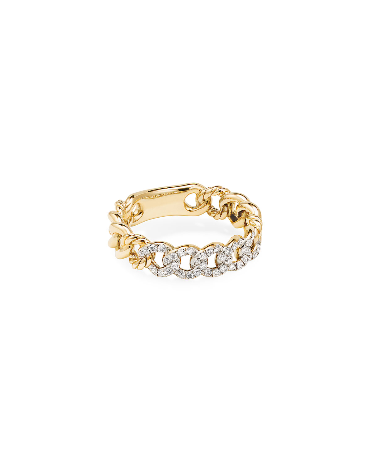 David Yurman Belmont Gold Narrow Curb Link Ring with Diamonds, Size 8