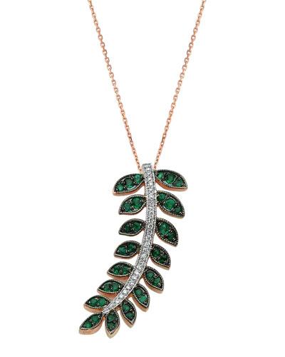 Feather of Goddess Freya Emerald and Diamond Necklace