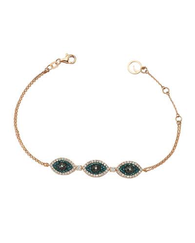 Eye Light Multi-Diamond 3-Station Bracelet