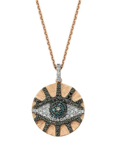 Eye Light Mixed-Diamond Disc Pendant Necklace